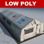 Low polygon 3d hospital tent