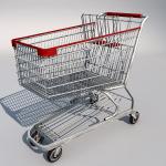 Low polygon 3d shopping metal cart