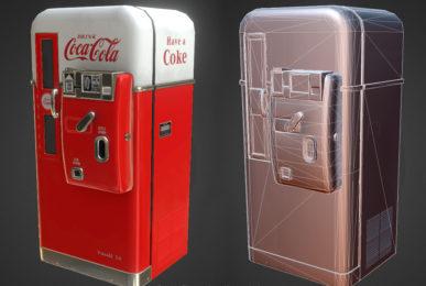 Low polygon vintage vending machine